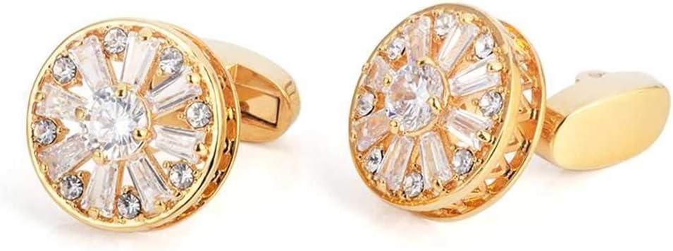 HXF Clean 18K Gold White Crystal Cufflinks with Diamond Cufflinks Business Formal French Shirt Cufflinks Gift Box Neat