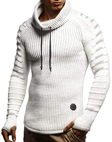 LEIF NELSON Men's Stylish Knit Sweater With Collar | Knitted Sweatshirt Pullover | LN5640; XX-Large, Ecru-Gray