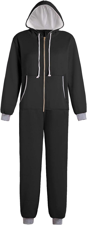 Edinoy Men and Women Adult Pajamas Homewear Sportswear Hooded Jumpsuit Black Pink Blue Dark Gray : Clothing, Shoes & Jewelry