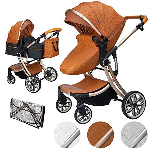 ib style® 2 in 1 JUMA Kombikinderwagen| Kinderwagen + Buggy | inkl. Regenschutz | Klappbar | Ohne Autoschale | MARRON