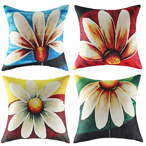 Decorative Pillows Pack of 4 Red Cushions Cover 45 x 45 Flower Blue Cushions for Sofa Farmhouse Green Pillow Covers Linen Cushion Case for Outdoor Garden Bed Couch