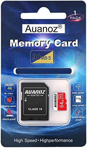 Auanoz TF-Speicherkarte 64GB, Klasse 10 Datenlesen übertreffen Speicherkarte für Telefon, Tablet und PC - mit Adapter. (Rot-64gb)