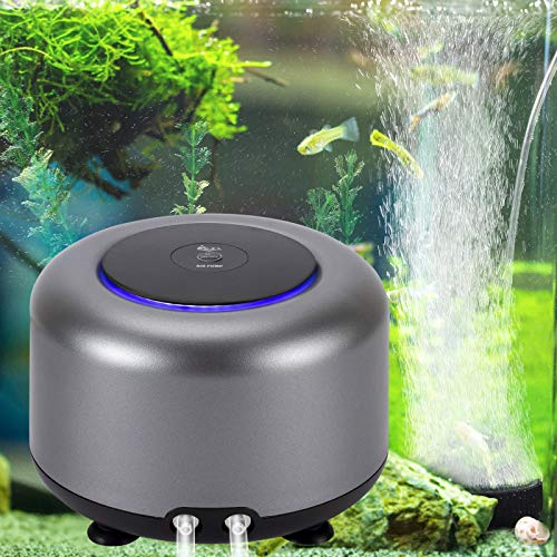 AQQA Aquarium Air Pump, 2 Air Outlets Adjustable Oxygen Pump for Up to 300/600 Gallon Fish Tank (5W 200GPH)