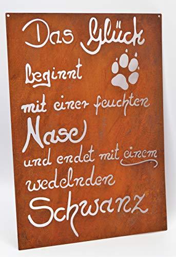 Dekostüberl Edelrost Tafel Hundeglück gelasert 30x21cm Schild Garten Deko Geschenk