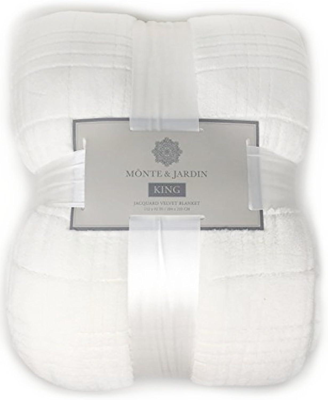 Monte & Jardin Jacquard Velvet Blanket King Size (Pure White)
