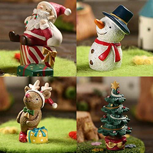 Wealthgirl Conjunto de 4 Adornos de Acuario Árbol de Navidad Santa Elk de Navidad Muñeco de Nieve Decoración de Tanque de Peces Decoración de paisajismo