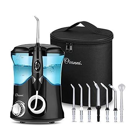 Ovonni Irrigador Dental Profesional, 7 Boquillas Intercambiables, 10 Ajustes de Presión, 600 ML de Gran Tanque de Agua, Recomendado por Dentistas y Médicos de Higiene Bucal, Cuidado Familiar