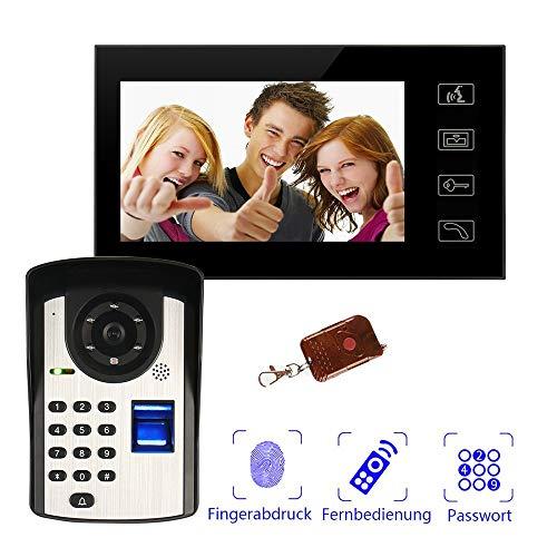 YLXD Sistema di videocitofono, videocitofono per Appartamenti con Monitor da 7', Password di sblocco/Impronta Digitale/Telecomando, Visione Notturna Impermeabile