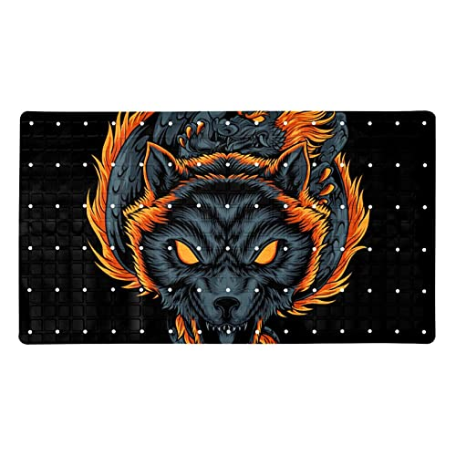 Bath Mat Non-Slip Red Wolf Suction Cups Best Durable and Stylish in Bath Mats Anti-Slip Shower Mat with Modern Design Quality Suction Cups 15.7x27.9 in