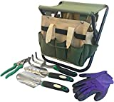 Garden Tools Set Organizer | Garden Seat Folding Gardening Stool Chair Kneeler | Gardener Bag | Gardening Tools Set | Digging Claw Garden | Top Gardening Gifts for Mom/Dad Includes Aluminum Tools
