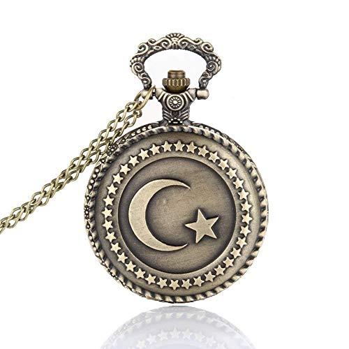 BABYCOW Liebhaber Taschenuhr Antike Bronze Türkische Flagge Design Mond und Stern Thema Quarz Taschenuhr mit Halskette Kette Geschenk,Damenuhren