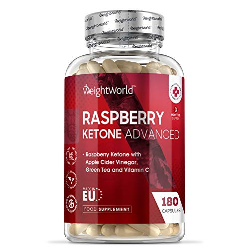 Raspberry Ketone Advanced - 1600mg Equivalent - 180 Capsules (3 Months Supply) - Strong Diet Capsules with Apple Cider Vinegar, Green Tea & Vitamin C, Vegan & Keto Food Supplement - Made in The EU