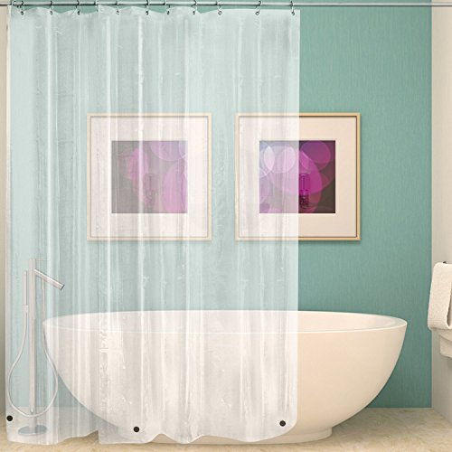 """Uigos Shower Curtain Liner 72"""" W x 72"""" H PEVA 8G with Heavy Magnet Inserts Thick Plastic Bathroom Clear"""