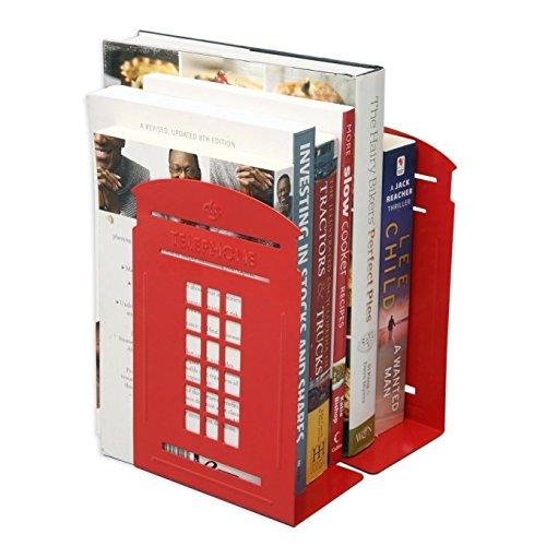 ヴィンテージファッション英国スタイルロンドン電話ブースメタルブックエンド、装飾Book Endsデスクトップブックオーガナイザーラックのライブラリ学校オフィス寝室、机勉強ギフト、ノンスリップ、1ペア レッド