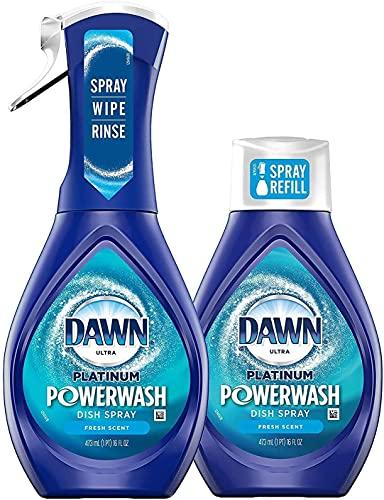 Dawn Powerwash Spray Starter Kit, Platinum Dish Soap, Fresh Scent, 1 Starter Kit + 1 Dawn Powerwash Refill, 16 fl oz each