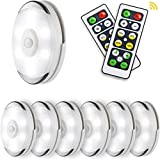 Lightess LED Puck Lights Wireless Closet Light with Remote Control, Dimmable LED Under Cabinet Lighting Battery Powered Under Counter Lighting Stick on Lights, 6 Pack, BY5613
