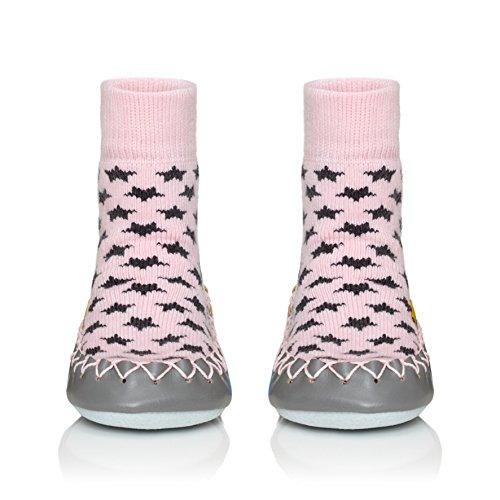 Moccis koel in roze baby - leer moccassins slippers sokken
