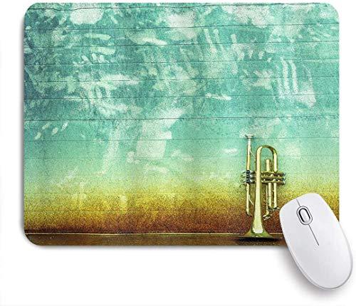 HUAYEXI Stoff Mousepad,Musik Altes Alter getragene einzelne Trompete steht allein gegen ein verblasstes Wand Jazz Themenfoto,Rutschfest eeignet für Büro und Gaming Maus