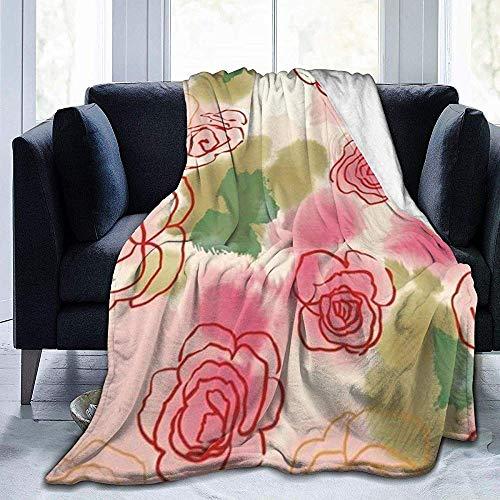 alice-shop Sweet Flower Wallpaper Manta de vellón Ultra Suave Manta de Felpa de Terciopelo de Franela
