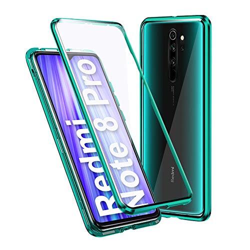 Ellmi Funda para Xiaomi Redmi Note 8 Pro, Adsorción Magnética Parachoques de Metal con 360 Grados Protección Case Cover Transparente Ambos Lados Vidrio Templado Cubierta, Verde