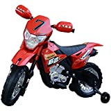 HOMCOM Motocross électrique 35 W Enfant 3 à 6 Ans dim. 107L x 53l x 70H cm roulettes Amovibles Rouge
