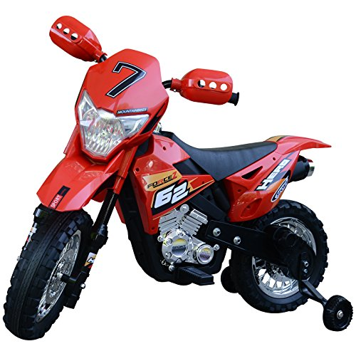 homcom Moto da Cross Elettrica con Rotelle Bambini 109 × 58.8 × 70.5cm Rosso