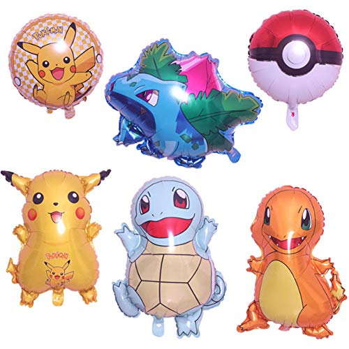 Globo Pokémon, 6 Piezas Helium Foil Balloons Pokemon Pikachu Globos de Fiesta Aluminio Globo Suministros de Fiesta para Niños Decoraciones Suministros