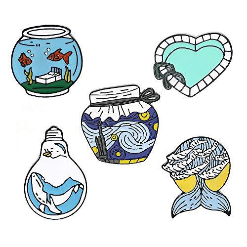 Springisso Pool Brosche Kreative Liebe Fisch-Teich-Fisch-Behälter-Heart-Shaped Pin Personality Kreative Goldfish-Birne