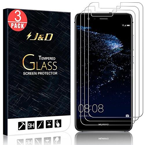 J&D Compatible para 3-Pack P10 Lite Protector de Pantalla, [Cristal Templado] [NO Cobertura Completa] HD Claro Vidrio Balístico Protector de Pantalla para Huawei P10 Lite - [No para P10/P10 Plus]