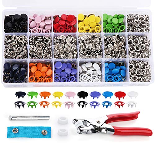 Lemonfilter 300 Sets Snap Fasteners Kit Tool, Metal Snap Buttons Rings with Fastener Pliers Press Tool Kit for for Sewing and Crafting (10 Colors)