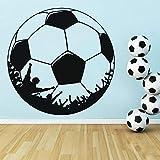 Fútbol Etiqueta de la pared Decoración para el hogar Niños Habitación para niños Vinilo Habitación para adolescentes Cabecero Calcomanías de pared Decoración del gimnasio 42x42cm Negrot165