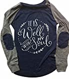 It is Well with My Soul Christian T Shirt Women Long Sleeve Patches Blouse Tops Size S (Nary Blue)