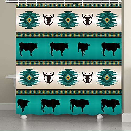 JAWO Aztec Shower Curtain for The Bathroom, Native Tribal Ethic Tattoo Pattern Southwest Theme Bathroom Curtain, Teal Bathroom Set, Bathroom Accessories