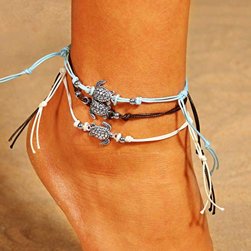 Jeweky Boho Layered Anklets Sea Turtle Ankle Bracelets Beach Wax Rope Foot Jewelry for Women and Girls