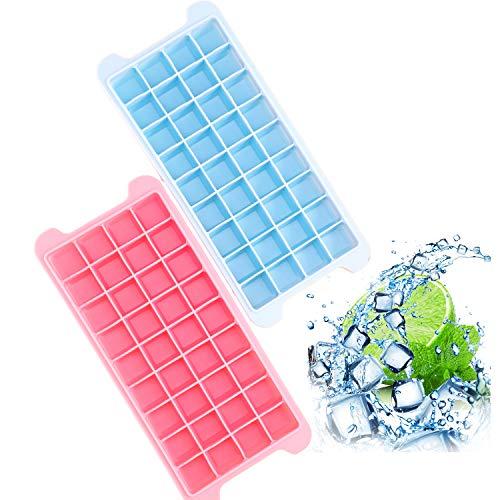 HeyUU Eiswürfelform Ice Cube Silikon mit Deckel 36-Fach Zertifiziert Eiswürfelschalen BPA Frei in Blau und Rosa 2er Pack (Blau+Rosa)