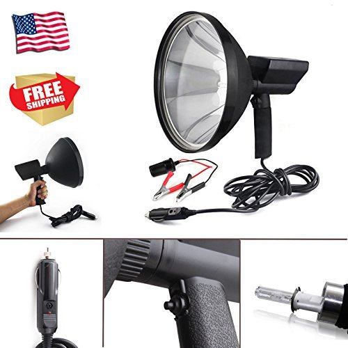 "Handheld Spotlight HID Xenon 9"" 8000lm 6000K White 1 Mile Light Distance Extreme Bright High Power for Driving Camping Hunting Search Work + Battery Conversion Clamps"