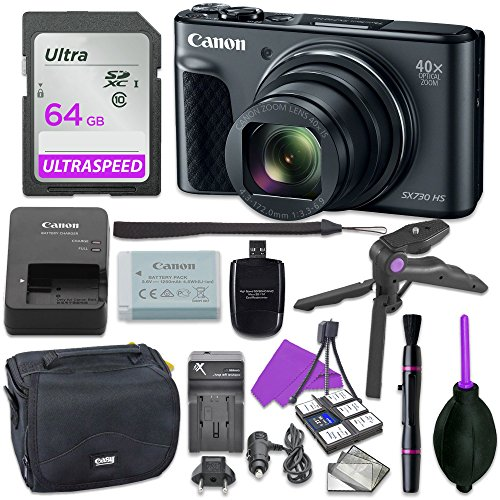 Canon Powershot SX730 Point & Shoot Digital Camera Bundle w/Tripod Hand Grip, 64GB SD Memory, Case and More