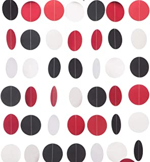 MOWO Paper Garland Circle Dots Hanging Decor, 2.5'' in Diameter,10-feet (Black/red/White, 2pc)
