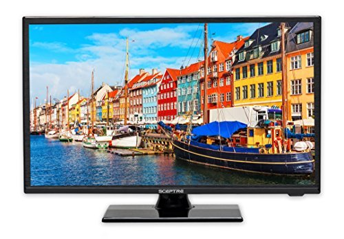 "Sceptre E195BV-SR 19"" Slim LED HDTV 720p with HDMI USB VGA Inputs, Machine Black 2020 New"