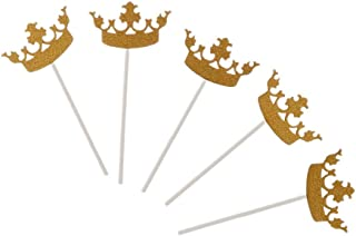 Baosity 5Pcs Gold Crown Cake Topper Cake Topper Birthday Party Decorations Sparkly - SKCQ002, 100mm