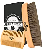 Beard Brush & Comb Set for Men | Premium Cardboard Gift Box | Best Bamboo Grooming Kit to Distribute Oil or Balm for Growth, Styling | Adds Shine & Softness
