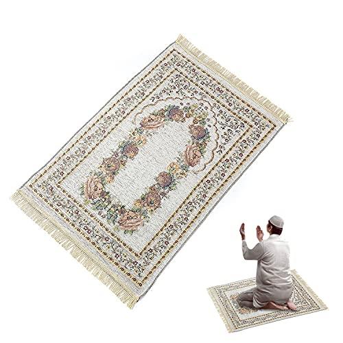 Alfombras Musulmanas,Rezando Alfombra,Alfombra de Oración, Alfombra Interior Exterior,Alfombras de Dormitorio, Alfombra Poliéster 70*110CM (Blanco)