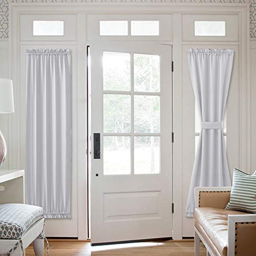 NICETOWN Blackout Sidelight Curtain Panels, Room Darkening Thermal French Door Curtains with Top and Bottom Rod Pocket Tie Back Included (Greyish White, W25 x L72, 1 Panel)