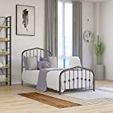 Beautiplove Metal Bed Frame Twin Size with Headboard and Footboard No Box Spring Needed,Mattress Foundation,Brown