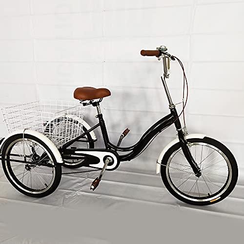 Fetcoi Triciclo Cruiser para adultos de 20 pulgadas, con cesta de la compra, 1 marcha, altura del asiento ajustable, para personas mayores, viajes y compras