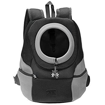 Mogoko Cat Dog Backpack Carrier Puppy Pet Front Pack with Breathable Head Out Design and Double Mesh Padded Shoulder for Outdoor Travel Hiking  M Black