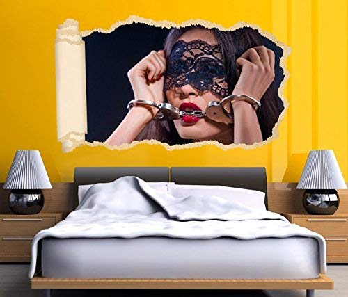 3D Wandtattoo Tapete Erotik Sexy Frau Handschälen Bett Hand Schlafzimmer Durchbruch selbstklebend Wandbild Wandsticker Wohnzimmer Wand Aufkleber 11O1499, Wandbild Größe F:ca. 140cmx82cm
