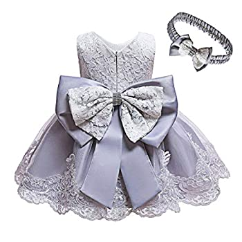 KISSOURBABY Baby Girl Dress Christening Baptism Gowns Infant Girl Party Wedding Dresswith Headwear  Gray 18M