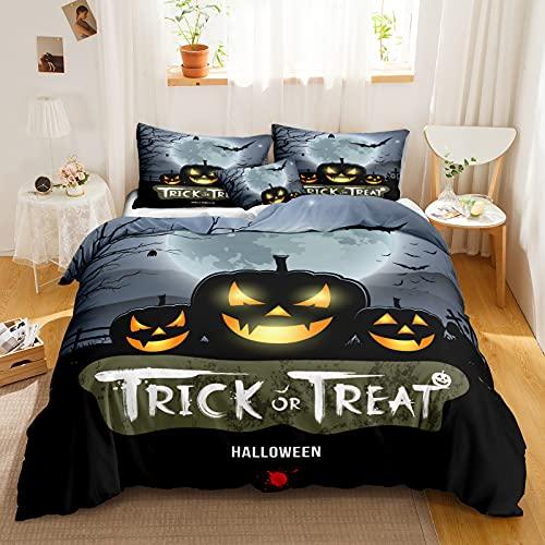 Pumpkin Bedding Halloween Duvet Cover Set Smile Pumpkin and Black Bat Printed Grey Boys Girls Bedding Set Queen 1 Duvet Cover 2 Pillowcases (Queen, Gray)