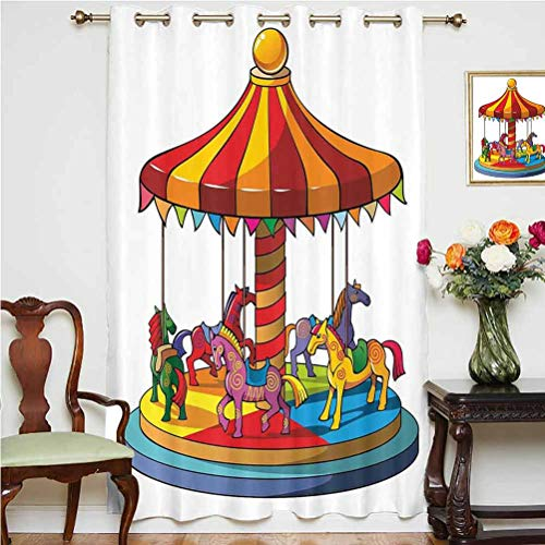 Kids Wide Blackout Curtains Cartoon Carousel Horses Merry Go Round Amusement Park Roundabout Playground Decorative Thermal Backing Sliding Glass Door Drape ,Single Panel 63x63 inch,for Office